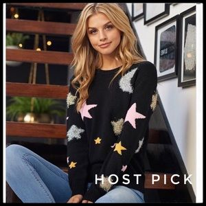 Knit Sweater Featuring Multi Color Textured Stars